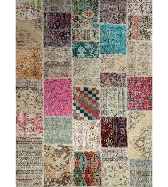 TAPIS PATCHWORK NATUREL MULTI